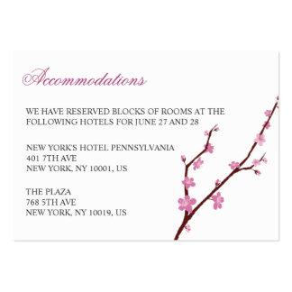 Tarjetas del alojamiento del boda de la flor de tarjetas de visita grandes