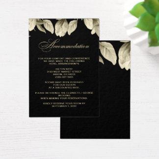 Tarjetas del alojamiento del boda floral del negro