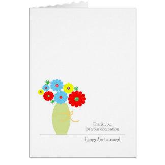 Tarjetas del aniversario del empleado, flores