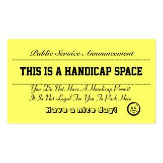 Tarjetas del aviso del estacionamiento de la desve plantilla de tarjeta de negocio