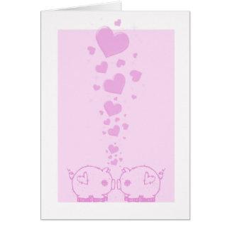 Tarjetas del el día de San Valentín de los cerdos