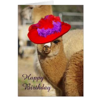 Tarjetas del feliz cumpleaños de la alpaca