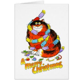 Tarjetas del gato del navidad - flámulas