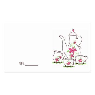 Tarjetas del lugar de la fiesta del té tarjetas de visita