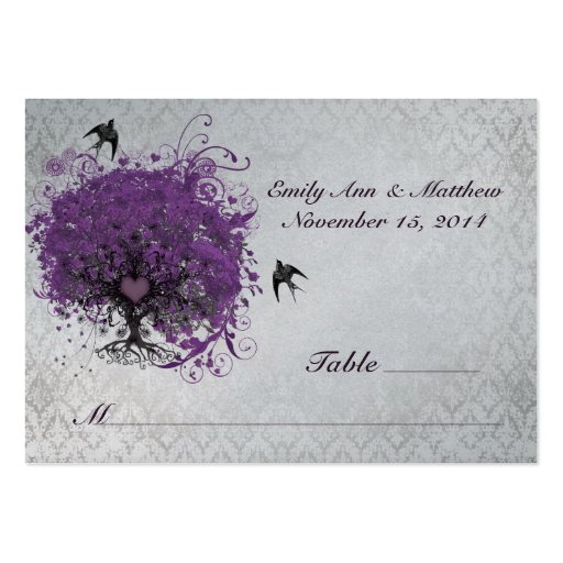 Tarjetas del lugar de la tabla del árbol de la hoj tarjeta de visita