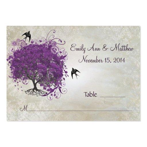 Tarjetas del lugar de la tabla del árbol de la hoj plantilla de tarjeta de visita