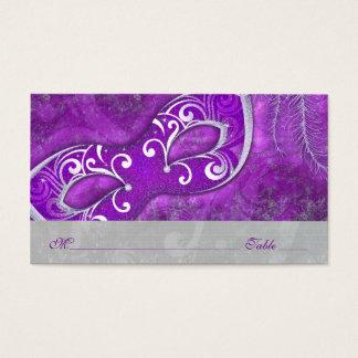 Tarjetas del lugar de PurpleWedding de la máscara