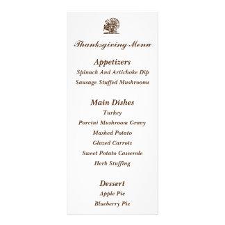 Tarjetas del menú de la acción de gracias de lona personalizada