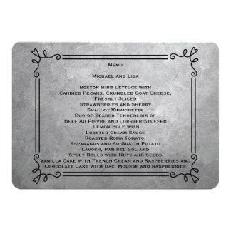 Tarjetas del menú de la bodas de plata invitación personalizada