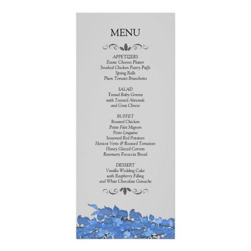 Tarjetas del menú de la recepción nupcial comunicado personal