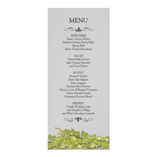 Tarjetas del menú de la recepción nupcial invitacion personalizada