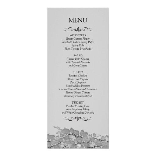 Tarjetas del menú de la recepción nupcial invitación
