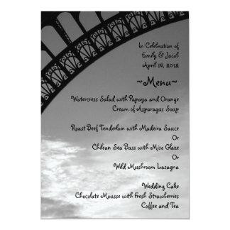 Tarjetas del menú de la torre Eiffel Invitación 12,7 X 17,8 Cm