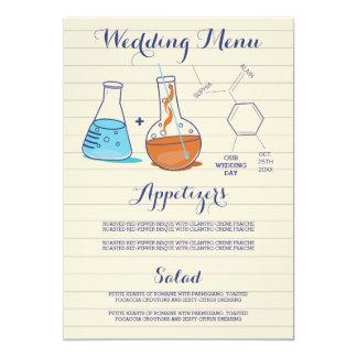 Tarjetas del menú del boda de la química invitación 12,7 x 17,8 cm