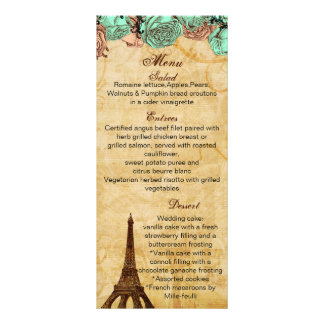 tarjetas del menú del boda de París de la torre