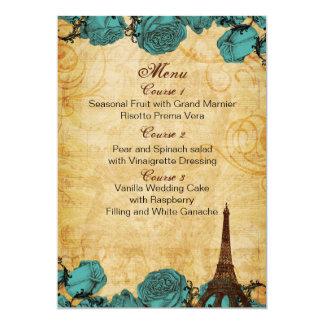 tarjetas del menú del boda de París de la torre Invitación 12,7 X 17,8 Cm