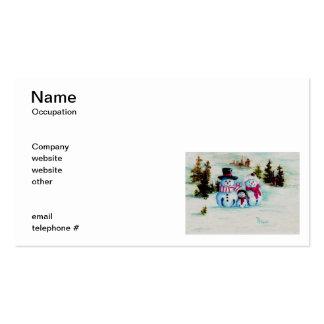 Tarjetas del negocio familiar del muñeco de nieve tarjeta personal