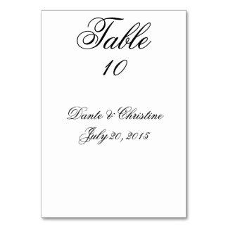 Tarjetas del número de la tabla