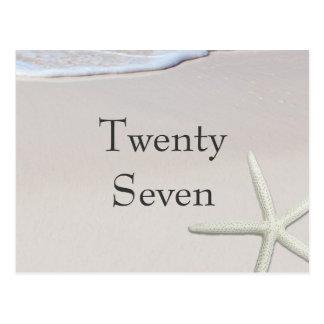 Tarjetas del número de la tabla de la playa y de postal