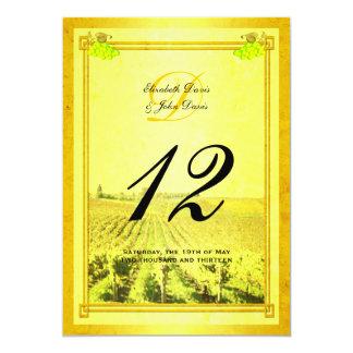 Tarjetas del número de la tabla del viñedo del invitación 12,7 x 17,8 cm