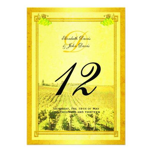 Tarjetas del número de la tabla del viñedo del vin anuncio