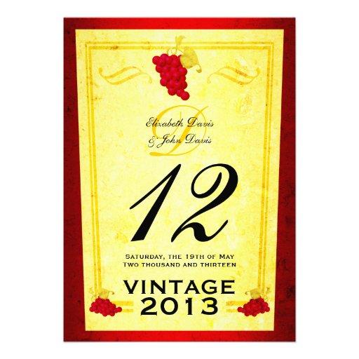 Tarjetas del número de la tabla del vino rojo del  invitaciones personalizada