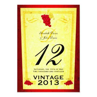 Tarjetas del número de la tabla del vino rojo del invitación 12,7 x 17,8 cm