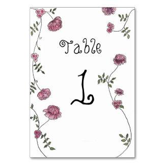 Tarjetas del número de la tabla, florales