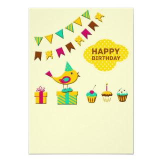Tarjetas del pájaro del cumpleaños anuncio personalizado