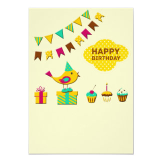 Tarjetas del pájaro del cumpleaños invitación 12,7 x 17,8 cm