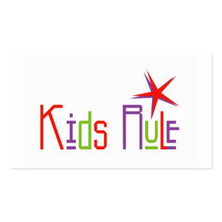 Tarjetas del perfil de la regla de los niños tarjetas de visita