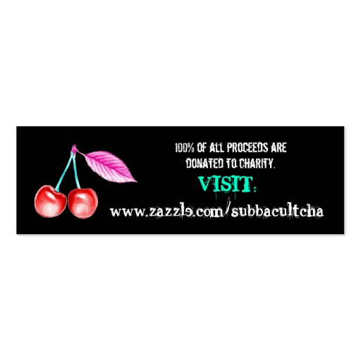 Tarjetas del promo -- Cereza del estallido en negr Tarjeta De Visita