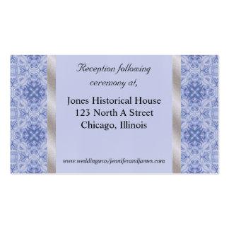 Tarjetas del recinto de la bodas de plata azul y tarjeta de visita