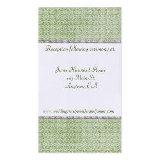 Tarjetas del recinto de la bodas de plata verde y tarjetas de visita