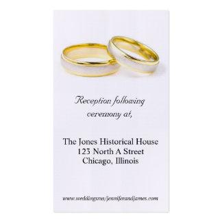Tarjetas del recinto del boda del anillo de bodas tarjetas de visita