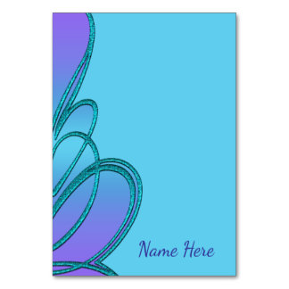Tarjetas dobladas azul púrpura de la tabla del