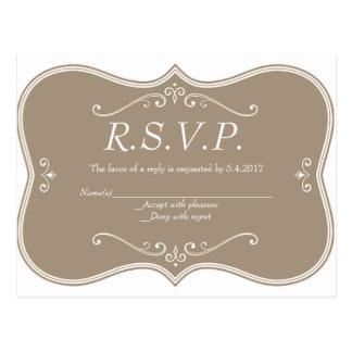 Tarjetas elegantes de RSVP del vintage que se