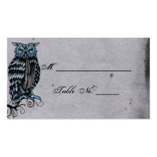 Tarjetas elegantes del lugar del boda del búho tarjetas de visita