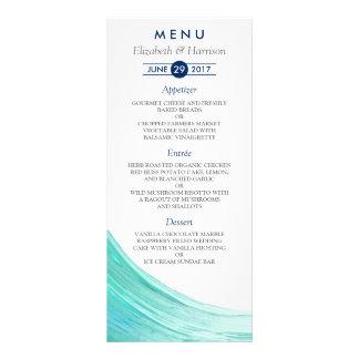 Tarjetas elegantes del menú del boda de playa de lonas