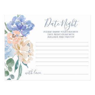 Tarjetas florales azules polvorientas de la idea