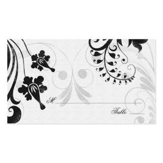 Tarjetas florales blancas negras del lugar o del a tarjeta de visita