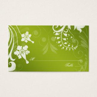 Tarjetas florales blancas verdes del lugar o del