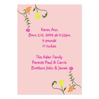 Tarjetas florales de la invitación del nacimiento tarjetas de visita grandes