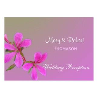 tarjetas florales de la recepción nupcial. flores tarjetas de visita grandes