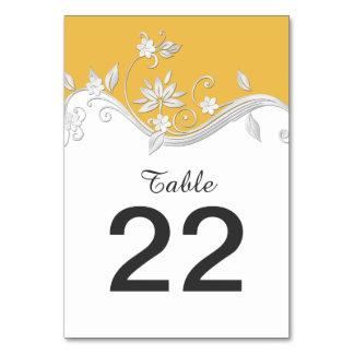 Tarjetas florales de plata amarillas de oro
