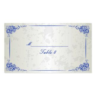Tarjetas florales de plata del lugar de la tabla d tarjeta de negocio