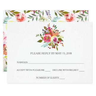 Tarjetas florales de RSVP de la acuarela romántica