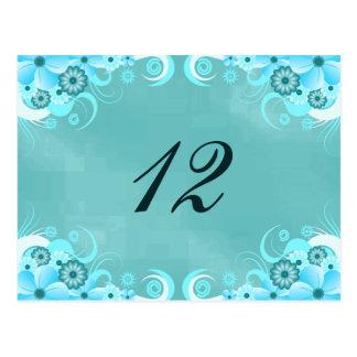 Tarjetas florales del número de la tabla de la
