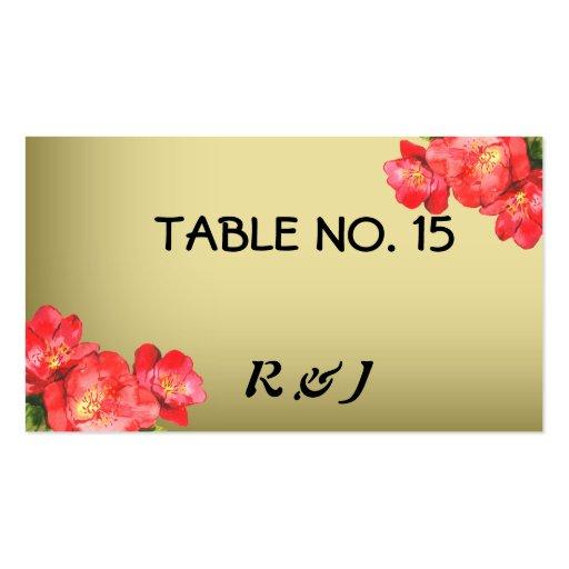 Tarjetas florales del número de la tabla de la acu plantilla de tarjeta de negocio