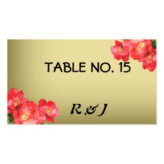 Tarjetas florales del número de la tabla de la tarjetas de visita